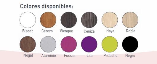 colores de madera a elegir para canapé modelo Tango de Vickflex